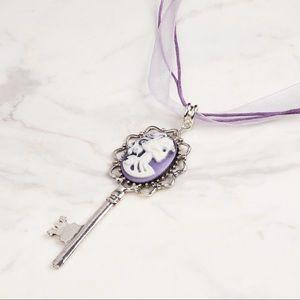 Neo-Victorian skeleton key cameo necklace